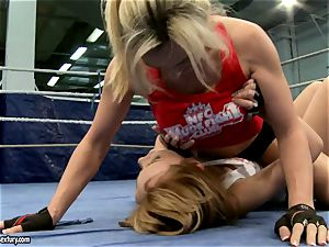 Tanya Tate with super-hot babe struggling in the ring