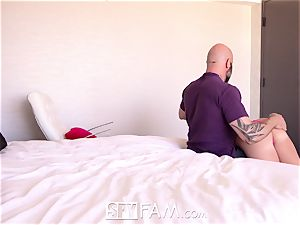 SPYFAM Step daddy blows thick stream into drenched labia
