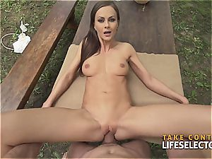 incredibly fit brunette bombshell loves to get wild in public