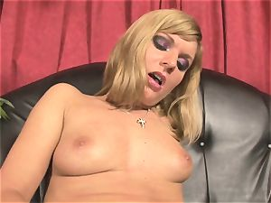 Pretty Victoria shine playing with a thick red dildo