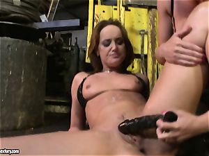 Andy chocolate-colored and Kathia Nobili playing with fuck stick