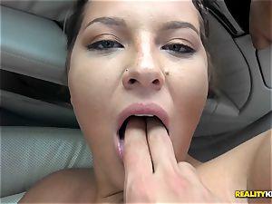 man sausage munching Scarlett Jennings in the car