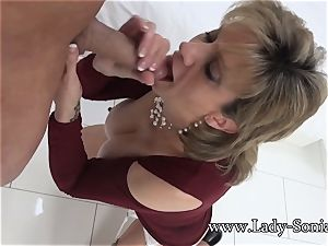 chick Sonia Mature honey lubricated Up And gargling man-meat