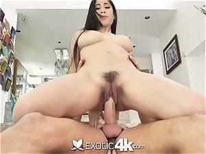 EXOTIC4K buxomy japanese polishes moist vulva on humungous dick