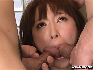 splooging japanese is tied up and used in a three-way