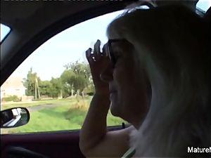 blond granny gets some jizm on her glasses