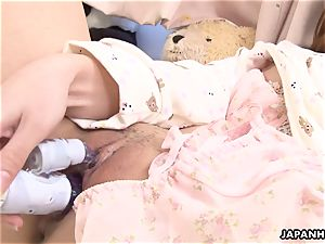 adorable japanese babe plaything drilling her soddening wet cunny