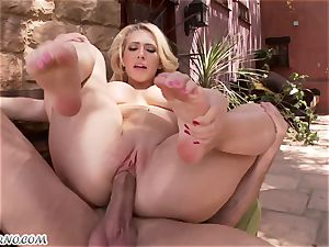 lewd huge-chested blonde Kagney Linn Karter gets romped outdoor