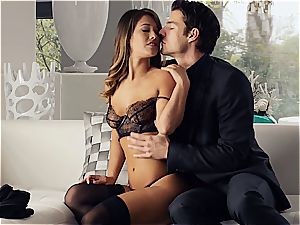 sexy Eva Lovia is teaching her beau some manners before the party