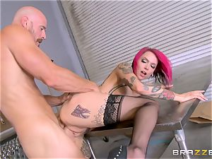 red-hot manager Anna Bell Peaks rides her employees spunk-pump
